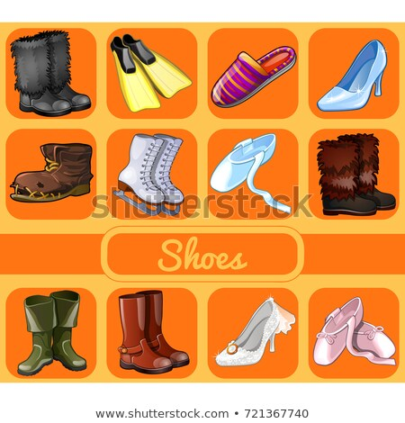 set of shoes for all occasions sketch for holiday sticker card or party invitation sports festiv stock photo © lady-luck