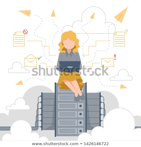 Business woman working on her laptop with online storage and cloud technology concept Stock photo © ra2studio