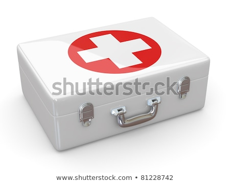 first aid kit on white background isolated 3d illustration stock photo © iserg