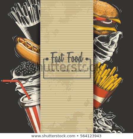 fast · food · ingesteld · vector · voedsel · restaurant · sandwich - stockfoto © robuart