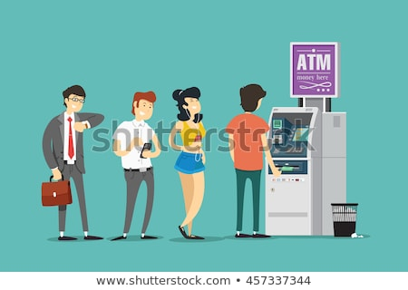 Queue at ATM withdrawing money from card. Stock photo © jossdiim