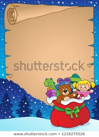 karácsony · táska · ajándékok · ikon · vektor · hosszú - stock fotó © clairev