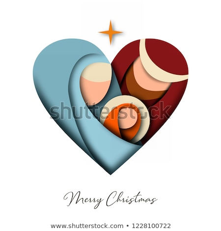Christmas paper cut card of jesus and holy family Stock photo © cienpies
