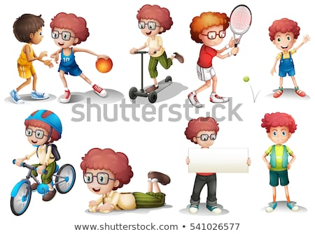 Boy with curly hair in diffrent actions Stock photo © colematt