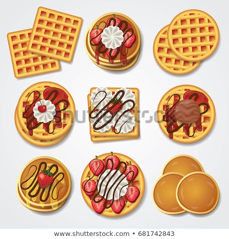 Breakfast set with pancakes and waffles Stock photo © colematt