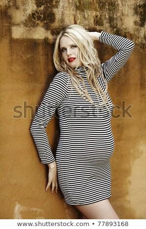 Belo oito meses grávida loiro mulher Foto stock © lubavnel