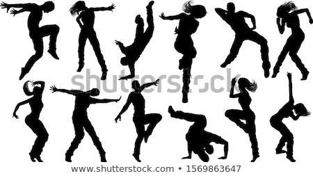 silhouet · hip · hop · danser · witte · hand · kunst - stockfoto © krisdog