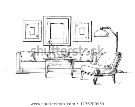 Sketch of the interior. Sofa, armchair, coffee table and other i Stock photo © Arkadivna