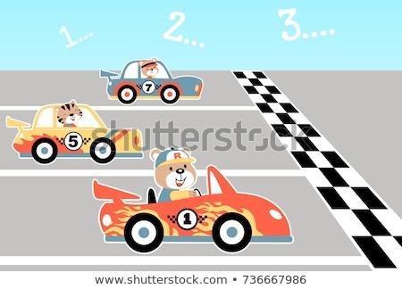 Cartoon Smiling Race Car Driver Kitten Stock photo © cthoman