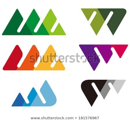 letter m with green triangles vector icon Stock photo © blaskorizov
