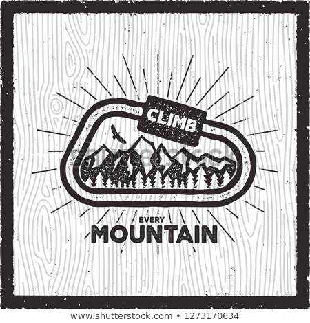 Vintage Adventure Card. Climb every mountain quote. Retro hand drawn monochrome travel badge, patch. Stock photo © JeksonGraphics