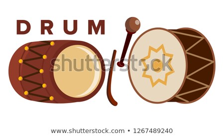 Drum Set Vector. Stick. Classic Loud Percussion Instrument. Festive Icon. Isolated Cartoon Illustrat Stock photo © pikepicture