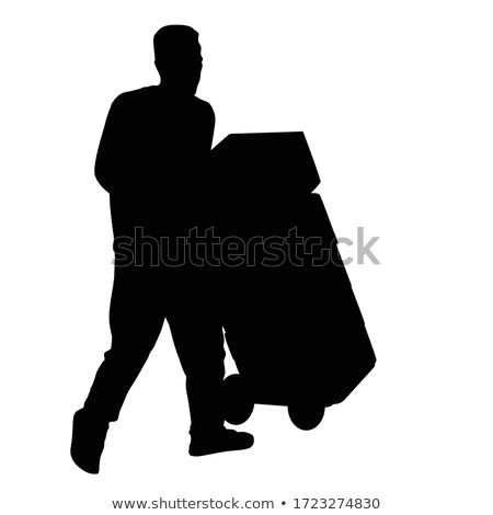 Man moving boxes on trolley cart Stock photo © colematt
