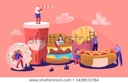 Grasso ragazza mangiare fast food illustrazione alimentare Foto d'archivio © colematt