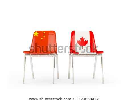 Two chairs with flags of Canada and china isolated on white Stock photo © MikhailMishchenko