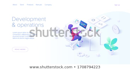 flat isometric vector landing page of agile software development stock photo © tarikvision