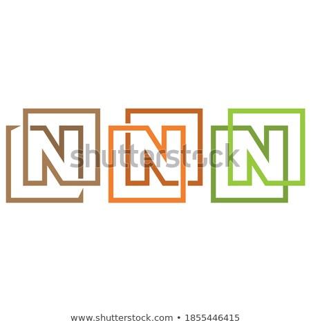 n letter simple geometric logo green black vector icon symbol Stock photo © blaskorizov
