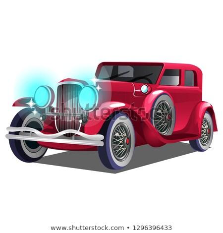 Vintage retro vermelho carro isolado branco Foto stock © Lady-Luck