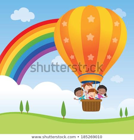 Kinderen paardrijden luchtballon illustratie hemel kinderen Stockfoto © bluering