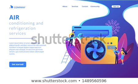 airconditioning · landing · pagina · airconditioner · reparatie · werknemer - stockfoto © RAStudio