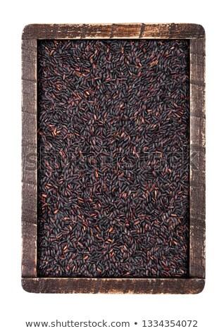木製 · ボックス · 生 · オーガニック · 黒 · コメ - ストックフォト © DenisMArt