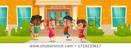 çocuklar Bina örnek ev ağaç okul Stok fotoğraf © bluering