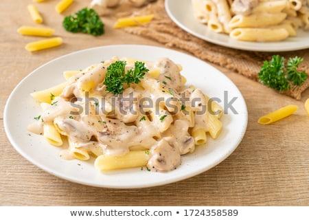 Tányér tagliatelle olasz konyha hagyományos étterem tojás Stock fotó © grafvision