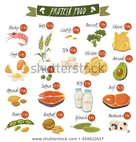 En iyi protein gıda simgeler sağlıklı beslenme somon Stok fotoğraf © netkov1