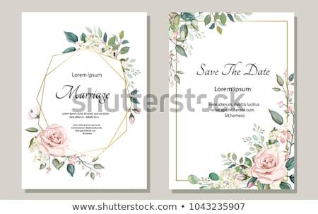 Invitation de mariage modèle vecteur or fleur cadre Photo stock © orson
