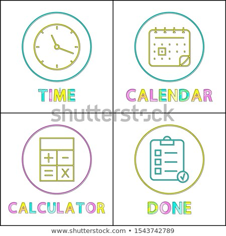 mobile organizer elements round linear icons set stock photo © robuart