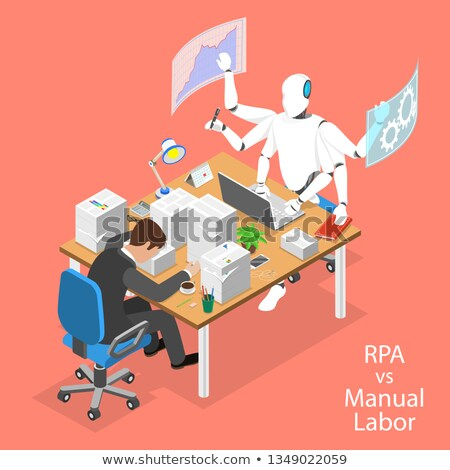 Isometric flat vector concept of robotic process automatisation, RPA, AI. Stock photo © TarikVision
