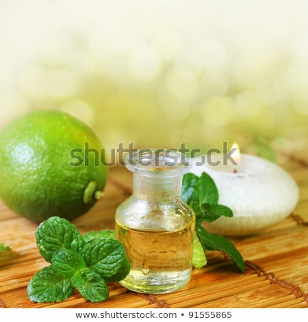 A bottle of peppermint essential oil with fresh peppermint leave stock photo © madeleine_steinbach