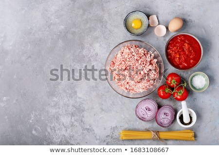 Spaghetti with minced meat Stock photo © simply