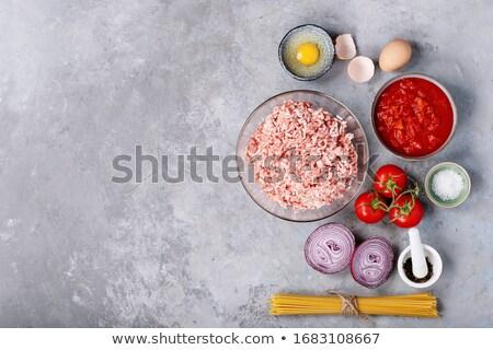 Сток-фото: спагетти · мяса · небольшой · смешанный · служивший