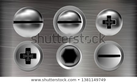 Several Metal Screws And Heads Of Bolts Set Vector Stock fotó © pikepicture