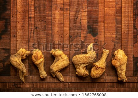 flat lay original recipe fried chickens with copy space Foto stock © szefei