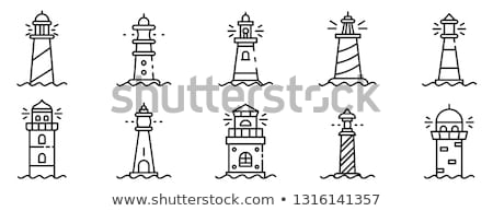 vector black, white outline Lighthouse beacon set Stockfoto © VetraKori