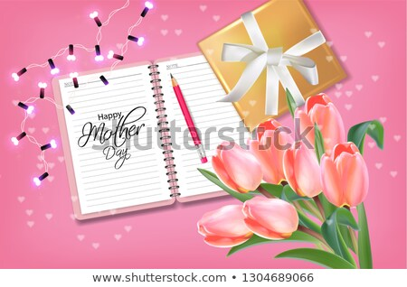 Boldog anya nap tulipán virágok virágcsokor Stock fotó © frimufilms