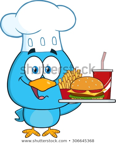 blue bird chef cartoon character holding a platter with burger french fries and a soda stock photo © hittoon