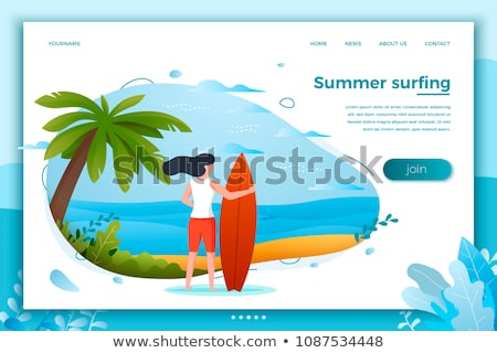 Summer beach vacation landing page template  Stock photo © cienpies