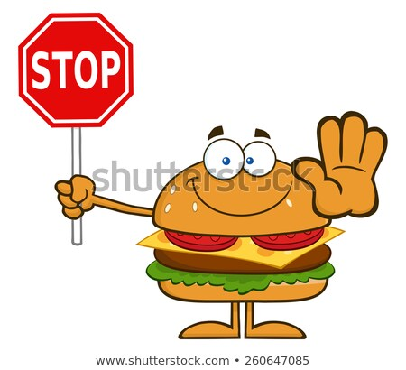 hamburger cartoon character holding a stop sign stock photo © hittoon