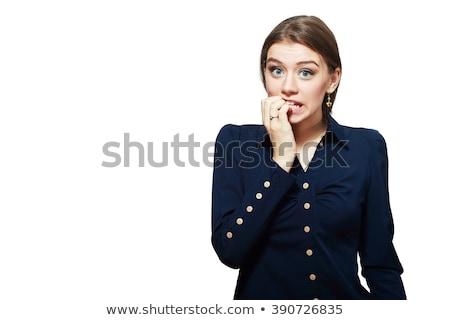 verrassing · portret · mooie · jonge · vrouw · eigenaardig · oog - stockfoto © rogistok