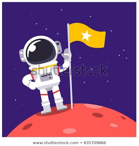 Foto stock: Astronauta · espacio · traje · pie · luna · bandera