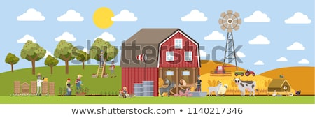 Stock photo: Farmer Feeding Domestic Animals on Farm Cartoon