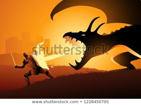 Fogo respiração dragão castelo cena ilustração Foto stock © bluering