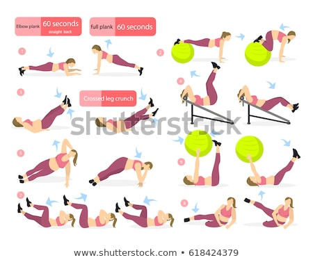 Fitness Exercises Website, People with Ball Set Stock photo © robuart