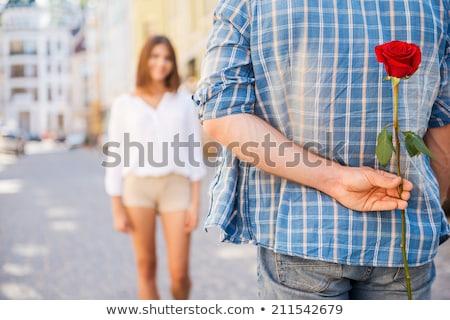 Randizás pár sétál együtt emberek virágok Stock fotó © robuart