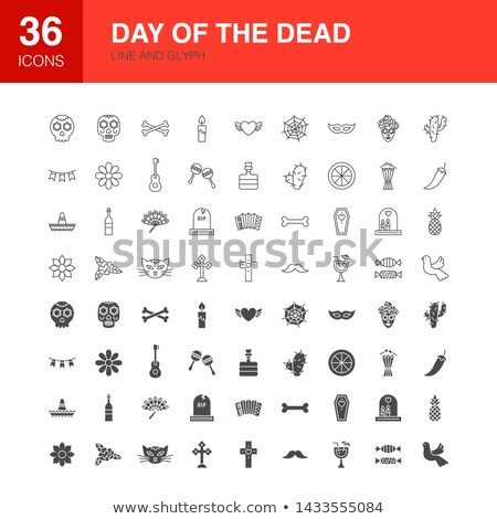 Day of the Dead Line Web Glyph Icons Stock photo © Anna_leni