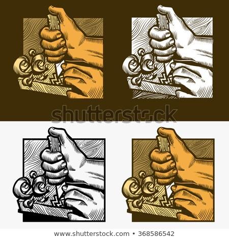 Kés szerszám fa deszka vektor öreg kéz Stock fotó © pikepicture