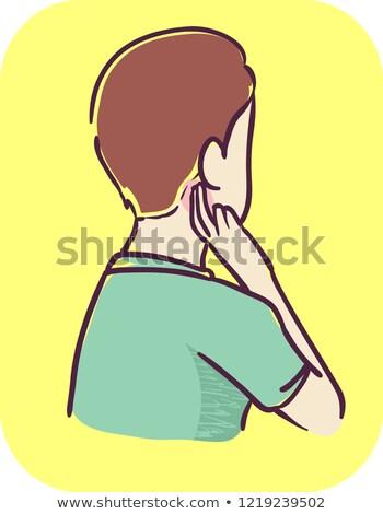 Teen Boy Symptom Pain Under The Ear Illustration Stock photo © lenm